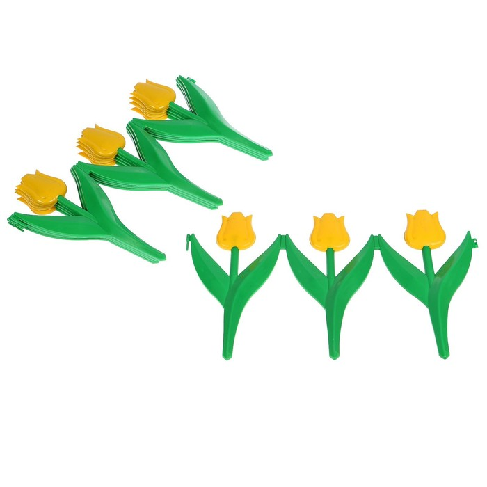 Ограждение декоративное, 30 × 225 см, 5 секций, пластик, жёлтый цветок, «Тюльпан»