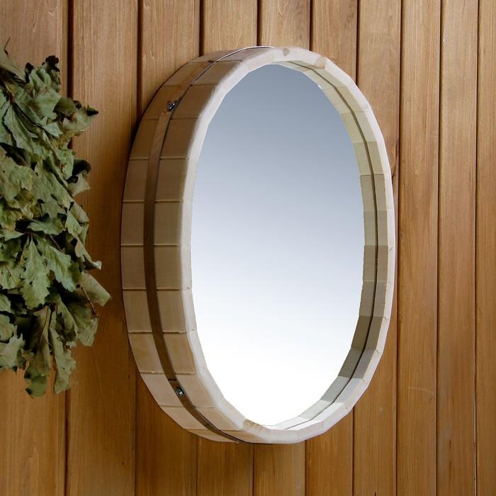 Зеркало Овал 44х33см, обод нержавеющая сталь