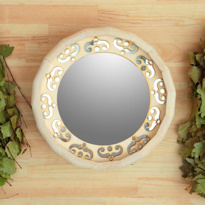 Зеркало Бочонок с резной вставкой(диаметр - 25см.), обод нержавеющая сталь