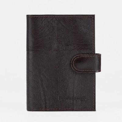 Обложка для автодокументов, отдел для паспорта, игуана, цвет коричневый
