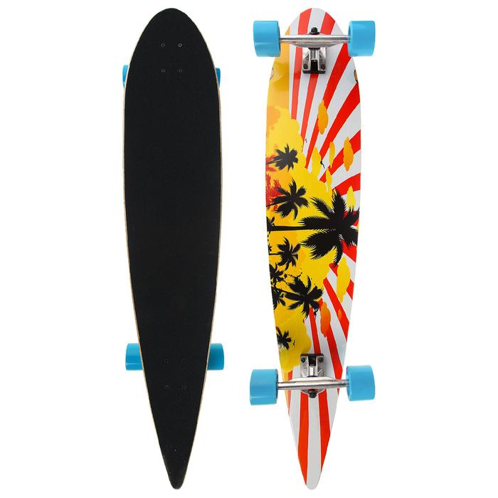 Лонгборд ОТ-4608, 116х23 см, колёса PU d=8,5 см, ABEC 7, алюминиевая рама, цвет синий
