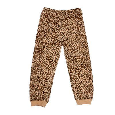 Брюки для девочки, рост 104 см, цвет бежевый, принт леопард 232162
