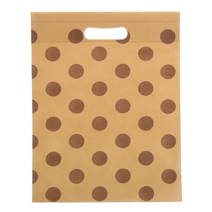 """Пакет с вырубной ручкой """"Горох"""" 35 х 50 см, коричневый"""