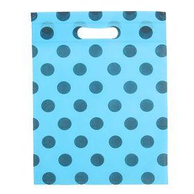 Пакет с вырубной ручкой 'Горох' 30 х 40 см, синий Ош
