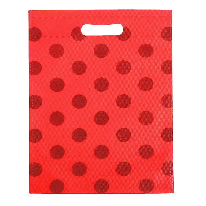 """Пакет с вырубной ручкой """"Горох"""" 24 х 30 см, красный"""