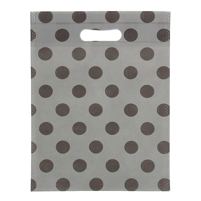 """Пакет с вырубной ручкой """"Горох"""" 24 х 30 см, серый"""