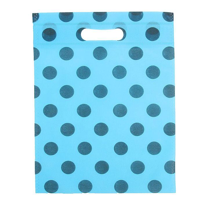 """Пакет с вырубной ручкой """"Горох"""" 24 х 30 см, синий"""