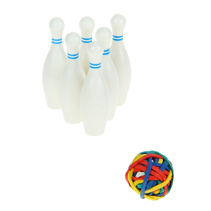 Боулинг настольный, набор: 6 кегель и резиновый шарик