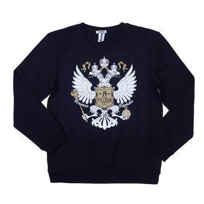 """Толстовка мужская KAFTAN """"Я Русский"""", размер 2XL(52), черный, хлопок 100%"""