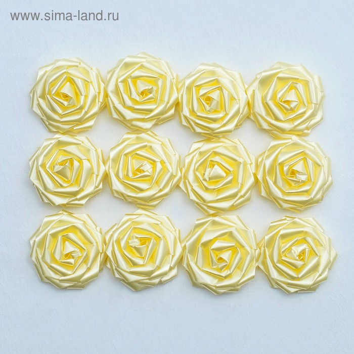 Набор «Роза» для украшения свадебных автомобилей на двойном скотче, d=5 см, 12 шт., айвори