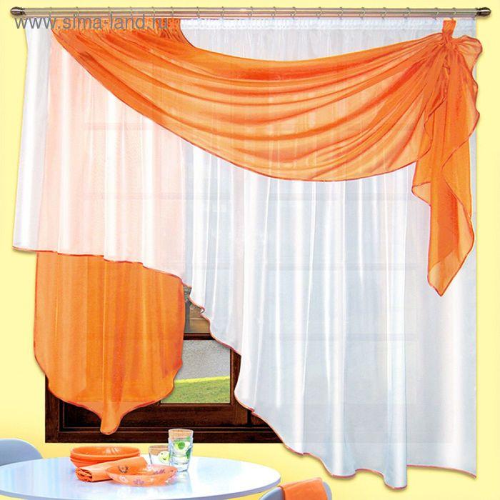 Портьера «Муза», размер 190 × 390 см - 1 шт, оранжевый