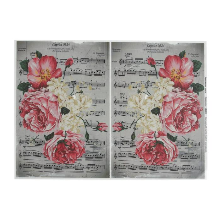 """Декупажная карта """"Розовые пионы на нотной тетради"""" плотность 45 г/м2, формат А4"""