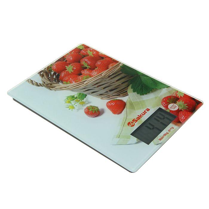 Весы кухонные Sakura SA-6075K, до 8 кг, электронные, клубника