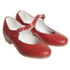 Туфли народные женские, длина по стельке 18 см, цвет красный