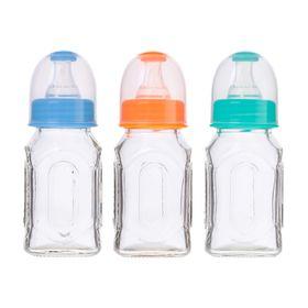 Бутылочка для кормления стеклянная, средний поток, 100 мл, от 0 мес., цвета МИКС
