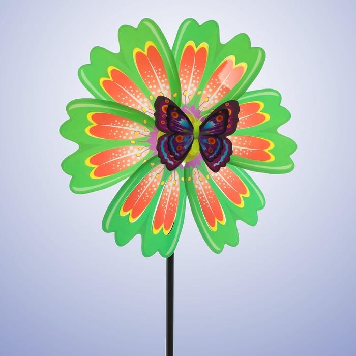 Ветерок «Цветочек», с бабочкой, цвета МИКС