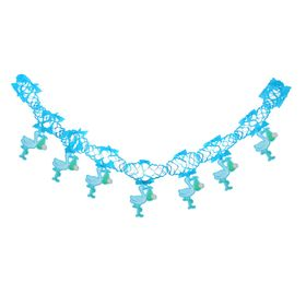 """Garland """"Stork with baby"""", 250 cm, blue color"""