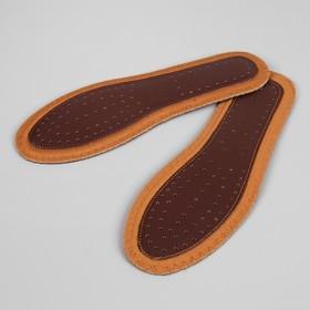 Стельки для обуви, ароматизированные, дышащие, окантовка, прошитые, 38 р-р, пара, цвет коричневый