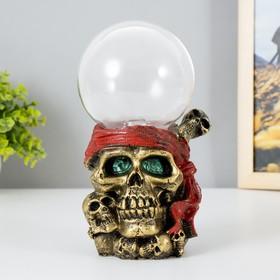 "Плазменный шар полистоун ""Череп пирата в красной бандане"" 19х11х9,5 см"