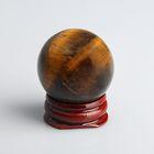 Шар из камня. Чёрный петерсит от 29мм/55г: подставка, коробка