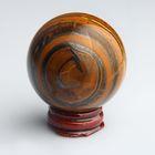 Шар из камня. Чёрный петерсит от 48мм/200г: подставка, коробка
