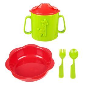 Набор детской посуды, 4 предмета: тарелка глубокая 16 см, кружка-поильник 180 мл, ложка, вилка, от 6 мес., цвет красный/зелёный Ош