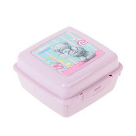 Контейнер для бутербродов с аппликацией 'me to you', 140х140х75 мм, цвет розовый, рисунок МИКС Ош