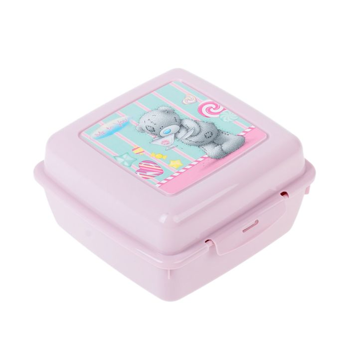 """Контейнер для бутербродов с аппликацией """"me to you"""", 140х140х75 мм, цвет розовый, рисунок МИКС"""