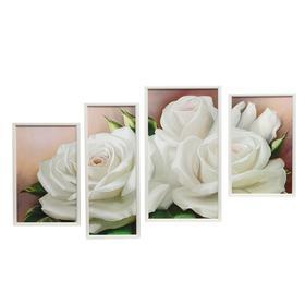 """Модульная картина в раме """"Белые розы"""""""