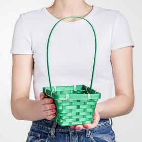 Корзина плетёная, бамбук, квадратная, зелёная