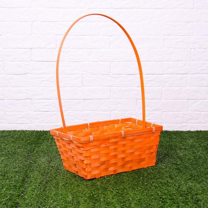 Корзина плетеная, бамбук, 30х17,5х12/45 см, оранжевая