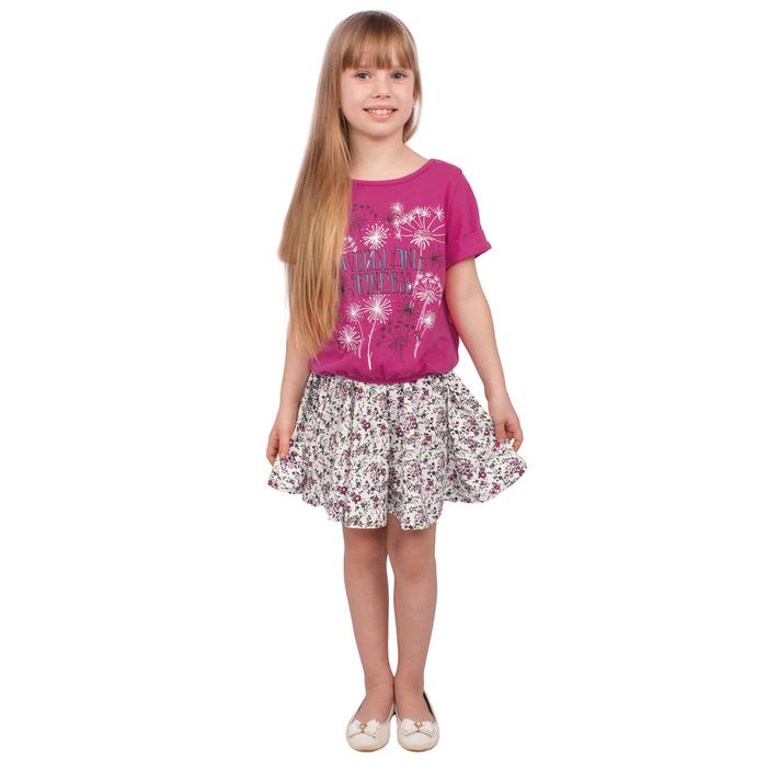 """Футболка для девочки """"Новая Алиса"""", рост 104 см (54), цвет малина, принт одуванчики ДДК981804"""