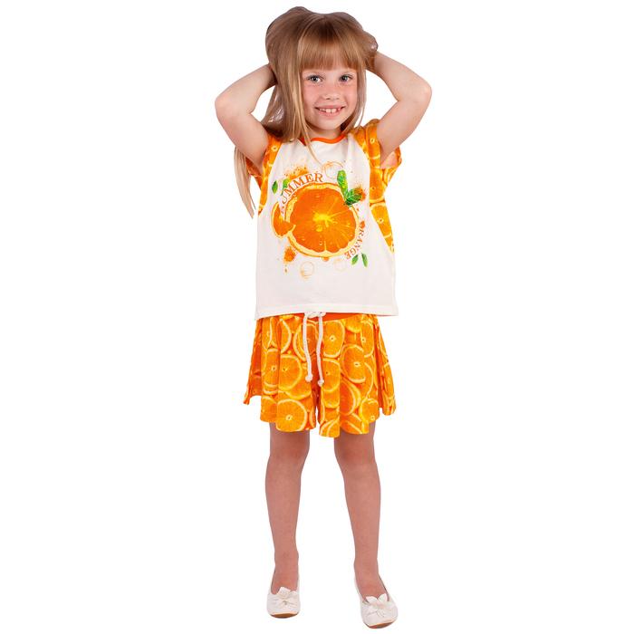 """Футболка для девочки """"Апельсины"""", рост 110 см (56), цвет сливки, принт апельсины ДДБ324001"""
