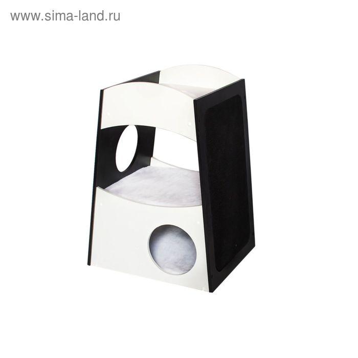 """Домик Zoo-M    """"Домино"""" 2-x уровневый+меховая игрушка, ковролин, 45*40*63,5см"""
