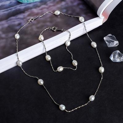 "Set of 2 pieces: necklace, bracelet ""Pearl river"" fog"