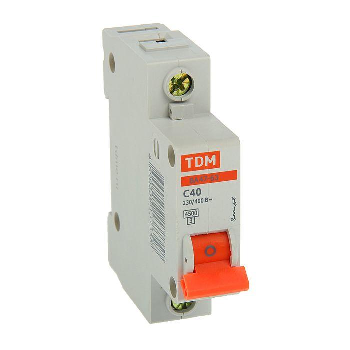 Выключатель автоматический TDM ВА47-63, 1п, 40 А, 4.5 кА, SQ0218-0007