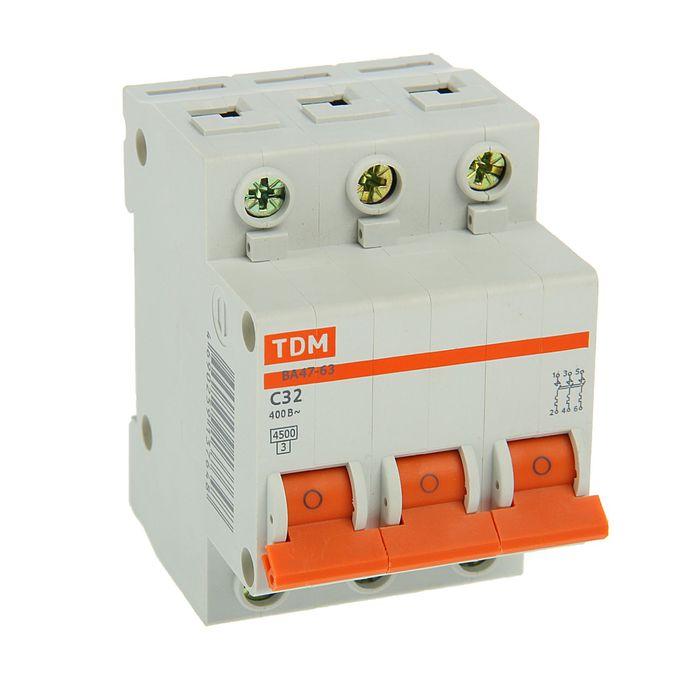 Выключатель автоматический TDM ВА47-63, 3п, 32 А, 4.5 кА