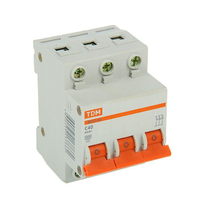 Выключатель автоматический TDM ВА47-63, 3п, 40 А, 4.5 кА
