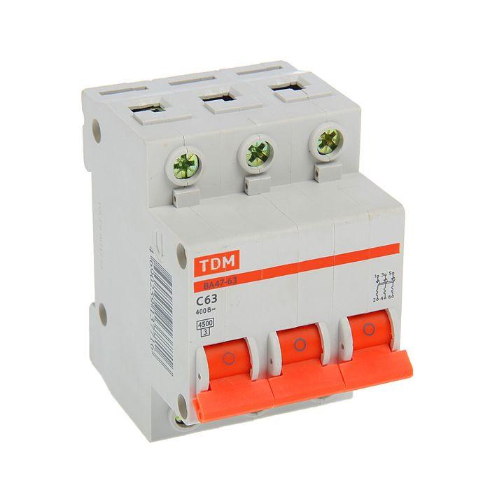 Выключатель автоматический TDM ВА47-63, 3п, 63 А, 4.5 кА