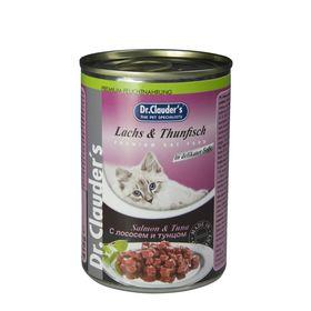Влажный корм Dr.Clauder's для кошек, кусочки в соусе с лососем и тунцом, ж/б, 415 г.