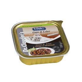 Влажный корм Dr.Clauder's для кошек, кусочки в соусе, гусь/печень, ламистер, 100 г.