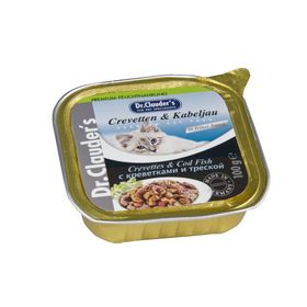 Влажный корм Dr.Clauder's для кошек, кусочки в соусе, креветка/треска, ламистер, 100 г.