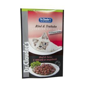 Влажный корм Dr.Clauder's для кошек, кусочки в соусе, мясо/индейка, пауч, 100 г.