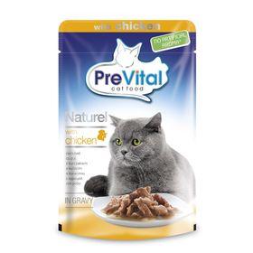 Влажный корм PreVital Naturel для кошек, кусочки в соусе с курицей, пауч., 85 г.
