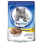 Влажный корм PreVital для кошек, в соусе с курицей, пауч., 100 г.
