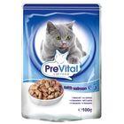Влажный корм PreVital для кошек, в соусе с лососем, пауч., 100 г.