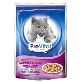 Влажный корм PreVital для кошек, в желе с кроликом/индейкой, пауч., 100 г.