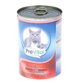 Влажный корм PreVital для кошек, кусочки в желе с говядиной и печенью, ж/б, 415 г.