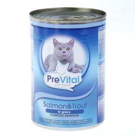 Влажный корм PreVital для кошек, кусочки в соусе с лососем и форелью, ж/б, 415 г.