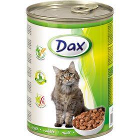 Влажный корм DAX для кошек, кусочки в соусе с кроликом, ж/б, 415 г.